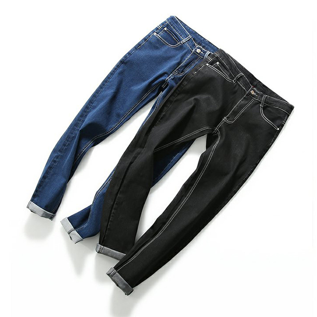 New jeans men straight hiphop jeans famous brands fashion designer high quality pencil skinny jeans man drop shipping