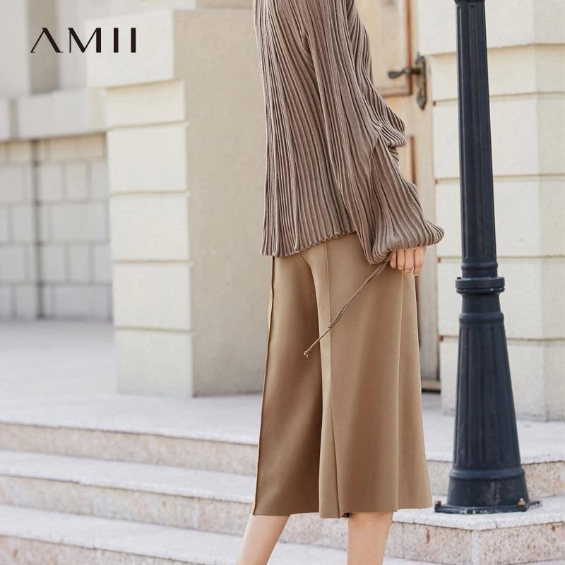 Amii Women Minimalist   Wide     Leg     Pants   2019 Loose High Elastic Waist Calf Length Female Trousers