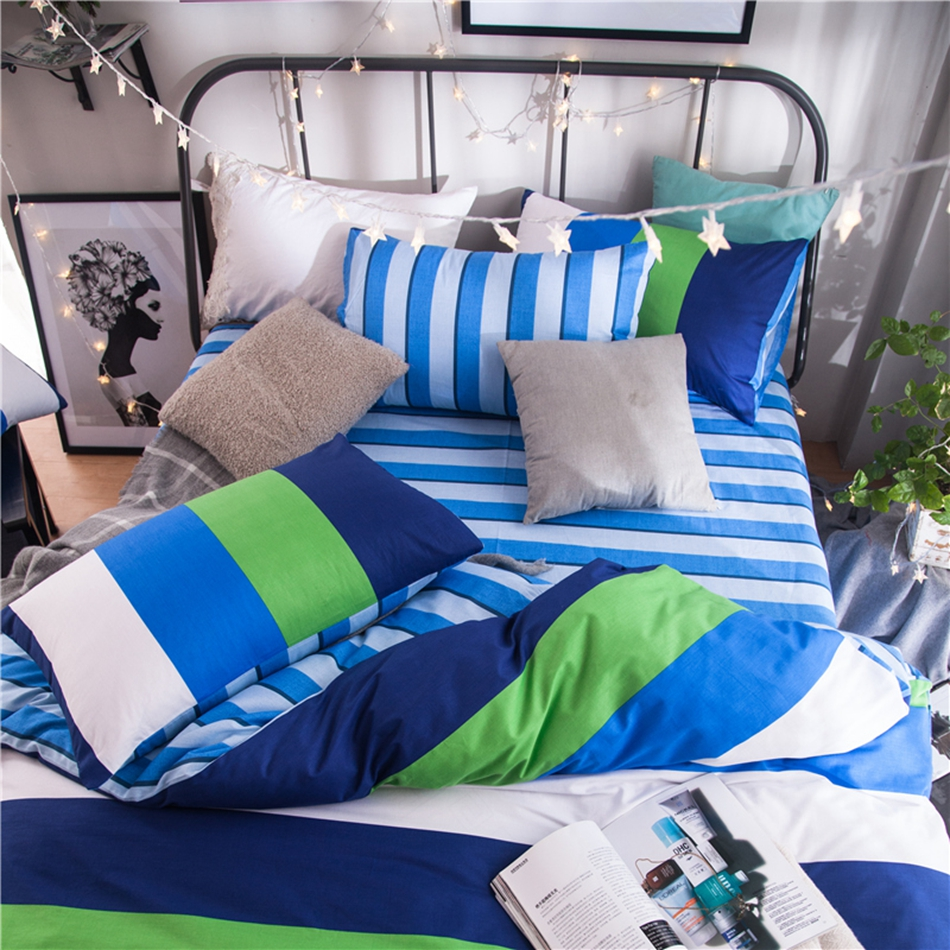 green white blue striped bedding set cotton 100 bright color duvet cover set bedding pillowcase soft bed sheet warm quilt coverin bedding sets from home