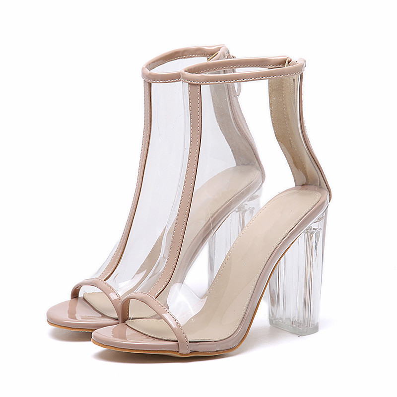 Kim Kardashian Sexy PVC Transparent Gladiator Sandals Peep Toe Shoes Clear Chunky Heels Ankle Boots For Women Sandalias Mujer women s winter hat new real mink fur pom fluffy ball hat cap fox fur ball mink fur fashion russian cap hat for women dhy17 20