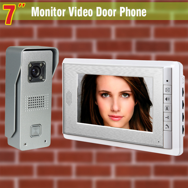 7 Inch Monitor Video Door Phone Intercom Doorbell System Aluminum Alloy night vision Camera visual Intercom video interphone 7 inch video doorbell tft lcd hd screen wired video doorphone for villa one monitor with one metal outdoor unit night vision