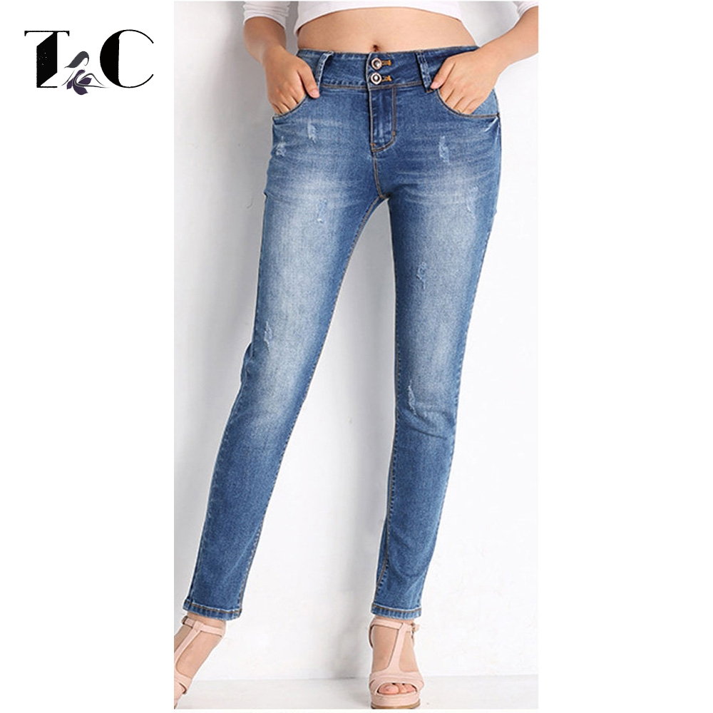TC High Quality Skinny Jeans For Women 2017 Autumn High Waist Slim Scratched Bleached Denim Pencil Pants Big Size 2XL XL FT00281 spring denim jeans for women slim high elastic waist skinny pencil pants jeans trousers bleached big size female washed casual