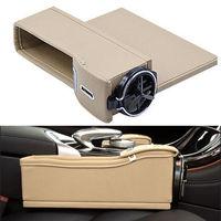 2xBeige Seat Crevice Slit Catcher Gap Filler Storage Box Coin Collector Pocket Wallet Cup Cigarette Holder Organizer Accessories