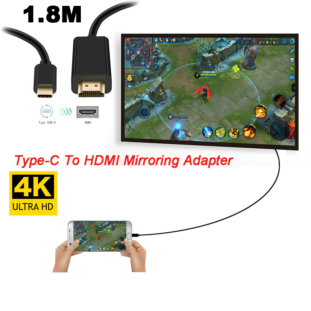 Type-C To HDMI Mirroring Adapter 4K Cable Adaptor For Samsung for Phone TV 18mar20 ...