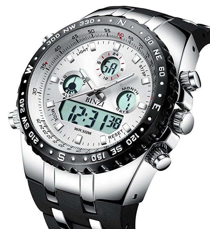 Sports-Watches Top-Clock Led Digital Dual-Display Waterproof Masculino Men Luxury Relogio