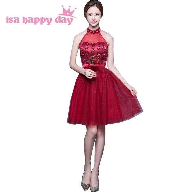 Sparkly Rojo Vino Halter Bridemaid Desfile Adolescente Vestido Corto Damas De Honor Faironly Limpieza Novia Vestidos Para Niñas Bodas H3745