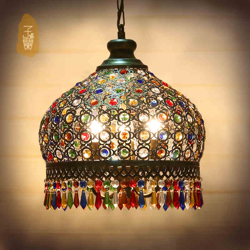 Us 149 18 20 Off Bohemian Crystal Pendant Lamp Light Wrought Iron Lamps For Kitchen Island Dining Living Room Decoration Mediterranean In