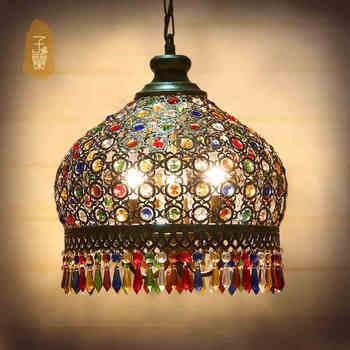 Bohemian Kristal sarkan lamba, Ferforje Lambalar Kolye Mutfak Ada Yemek Oturma Odası Dekorasyon Akdeniz