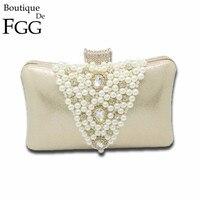 Silver Plated Women V Shape Beige Beaded and Crystal Evening Clutches Bag Bridal Wedding Dinner Chain Shoulder Handbag Purse