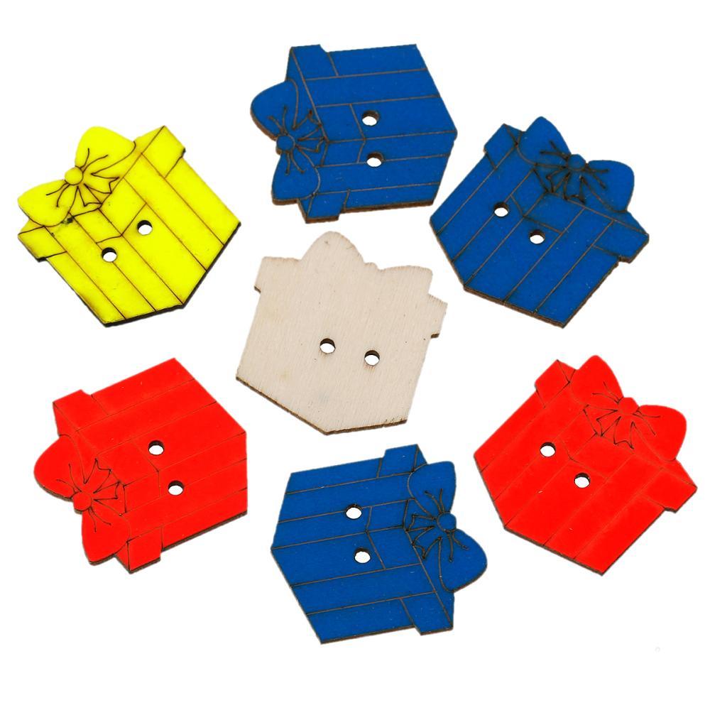 ᓂDoreenbeads madera Costura botón scrapbooking caja de regalo al ...