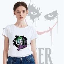 Printing Summer DC Joker Cool design Modal Womens O-neck Short Sleeve Leisure fashion Cotton White T-Shirt