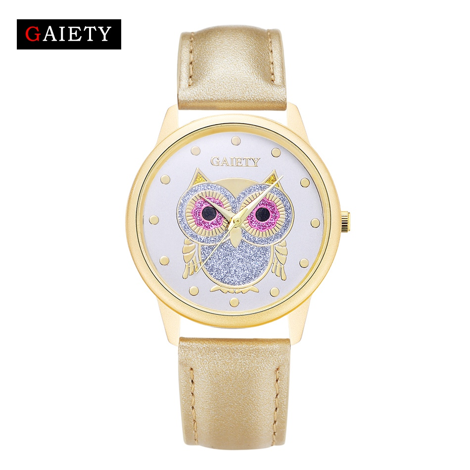 цены Gaiety Women Brand Quartz Watch Fashion Owl Gold Cartoon Bracelet Wrist Watch Clock Hours Leather Strap Quartz-Watch Gift G028