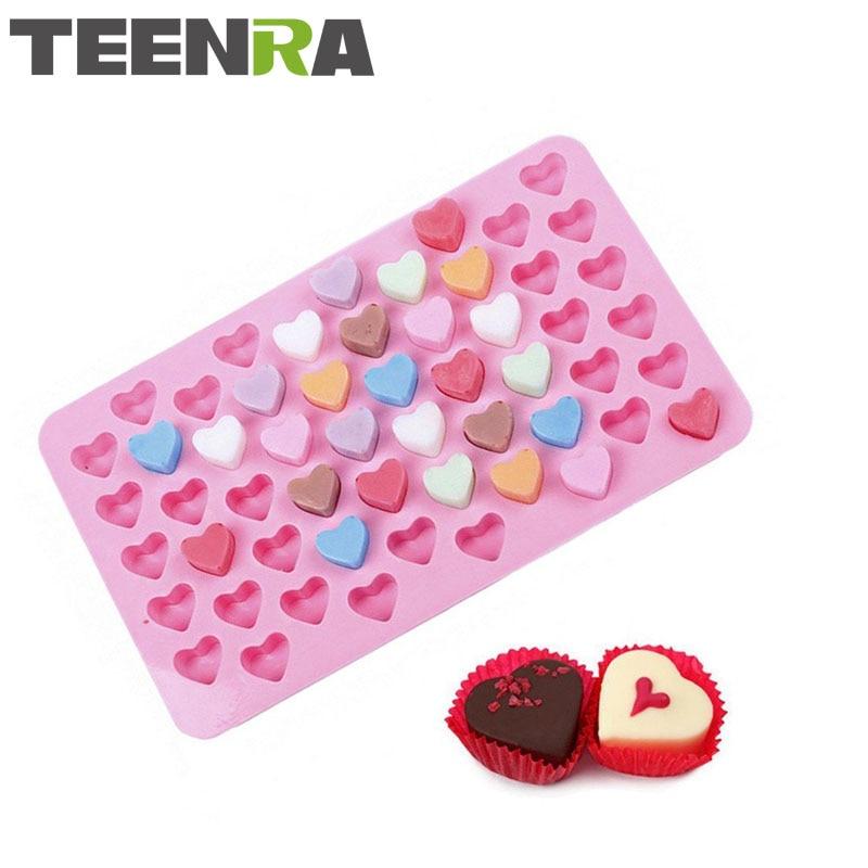 TEENRA 1 Stücke Rosa 55 herzförmigen Silikon Schokoladenform Mini - Küche, Essen und Bar
