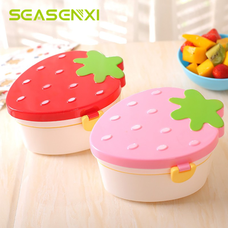 Strawberry Shape Lunch Box Two Layer Food Fruit Storage Bento Boxs Red Pink Microwave Tableware Kid Cute School Pinic Bowl 500ml