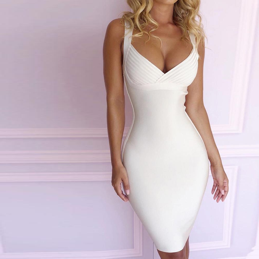 new arrival 2018 white spaghetti strap bodycon knee length bandage dress women deep v neck party club Vestido in wholesale