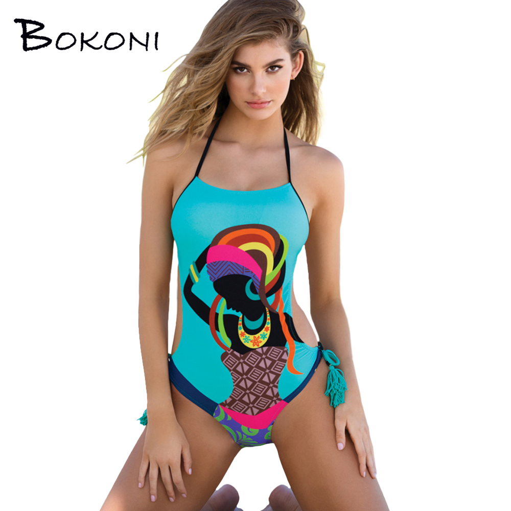 Sexy Print One Piece Swimsuit 2017 Blue Women Halter Swimwear Bathing Suit Women Body suits female Monokini Beachwear Swimsuit one piece swimsuits trikinis high cut thong swimsuit sexy strappy monokini swim suits high quality denim women s sports swimwear