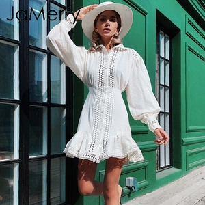 Image 2 - JaMerry Vintage ruffle mini white lace cotton dress Elegant lantern sleeve hollow out highstreet short dress Autumn chic dresses