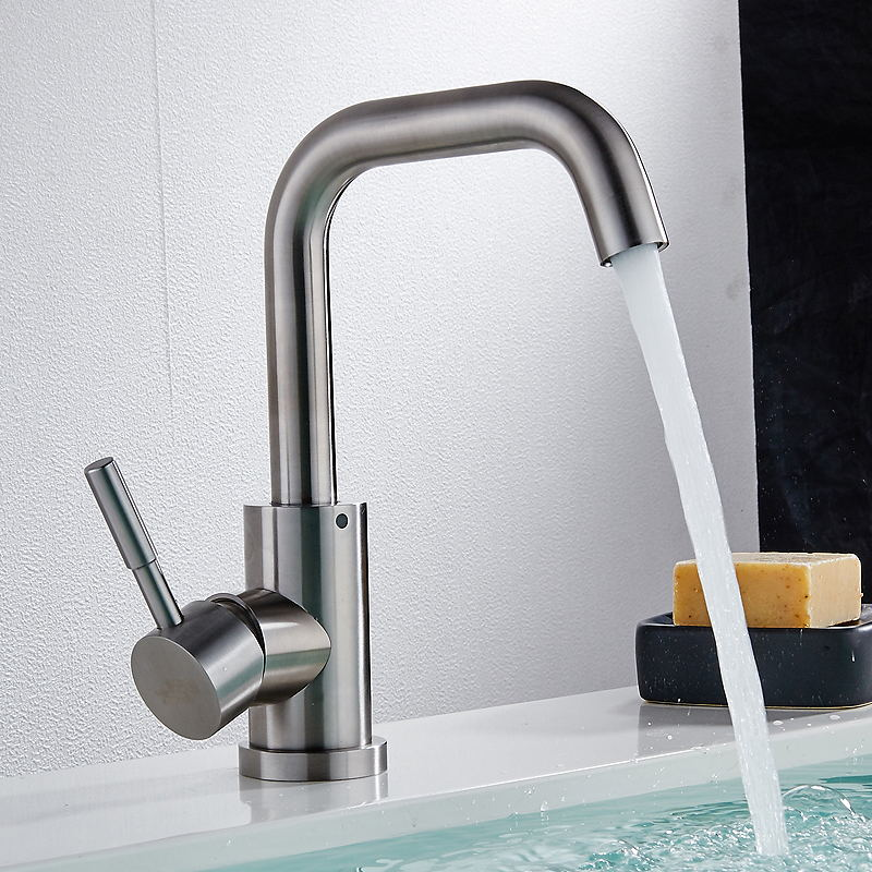 Bathroom Faucet, Lead-free 304 Stainless Steel, Hot and Cold Water Single Hole Basin Faucet Rotating Seat Wash Basin Faucet wall of the cold and hot water tap copper concealed washbasin single hole basin faucet stainless steel waterfall faucet lt 304 4