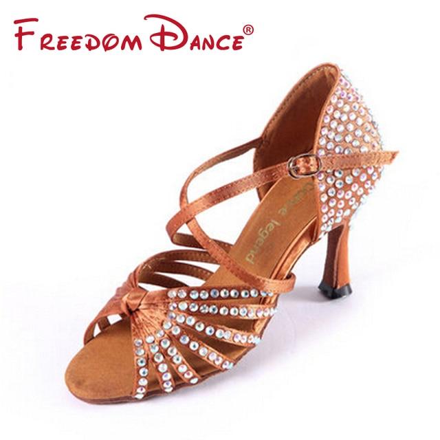 8b38505ae High Quality Satin Upper Rhinestones Coverd High Heeled Women's Latin Dance  Shoes Ballroom Tango Dancing Shoe Dark Tan Black