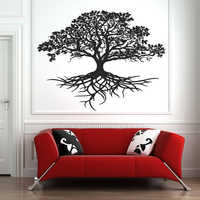 Tree Of Life Wall Sticker Decal Tribal Circle Of life Roots Branches Birds Wall Decals Living Room Yoga Studio Decor Mural D724