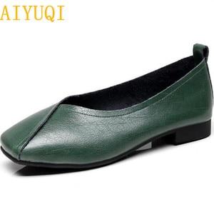 Image 1 - AIYUQI flat shoes  2020 new autumn genuine leather women flat shoes onon slip Plus Size 35 43 Women casual shoes