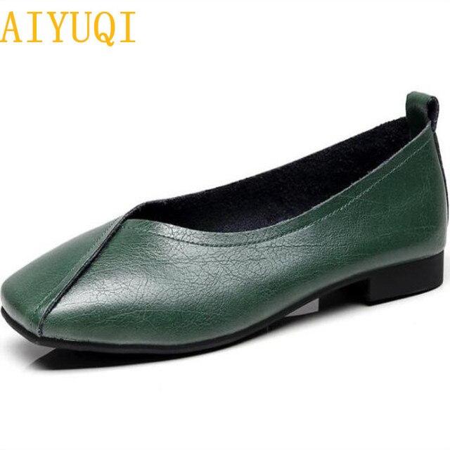 AIYUQI flat shoes  2020 new autumn genuine leather women flat shoes onon slip Plus Size 35 43 Women casual shoes