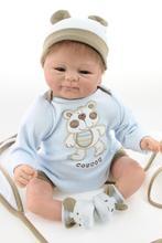 """Moda 18 """"reborn baby dolls meninas brinquedos de vinil silicone realistas recém-nascidos do bebê com roupas olhos bonitos bonecas mohair muito bonito do bebê"""