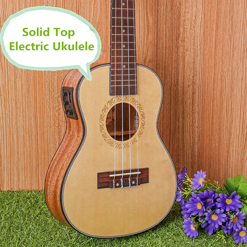 Solid Top Concert Acoustic Electric Ukulele 23 Inch Guitar 4 Strings Ukelele Guitarra Wood Mahogany Picea Asperata Plug-in Uke electric ukulele acoustic solid top only 4strings guitar ox bone nut mahogany body red tortoise shell celluloid binding ukelele
