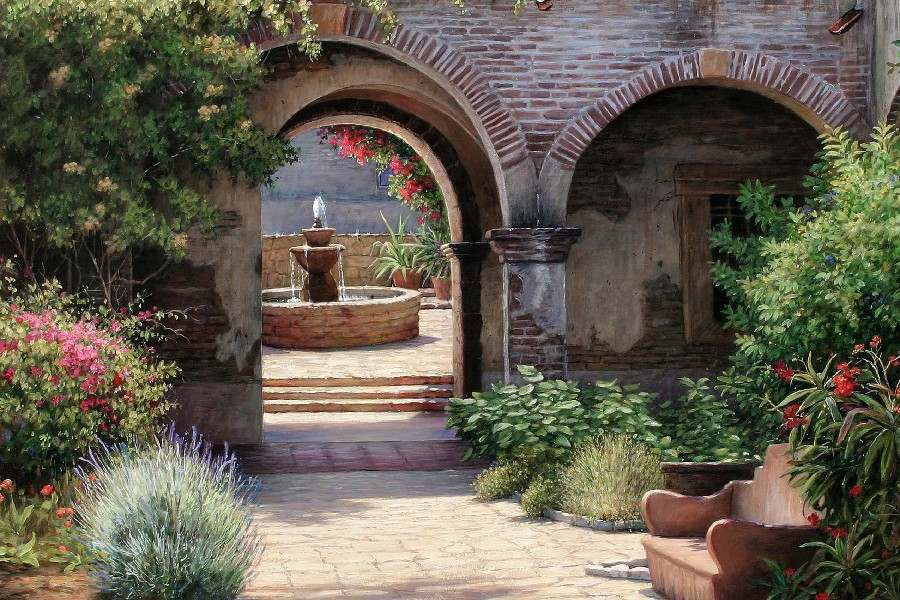 Garden Villa Patio Fountain Fountains Flowers Flower Plants Path Art  Paintings Cloth Silk Art Wall Poster And Prints
