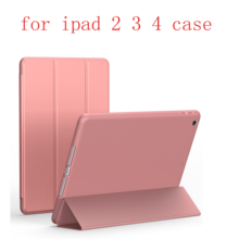 soft shell Case For iPad 2 3 4 TPU Leather Siamese Flip Smart Cover Auto Sleep/Wake Up