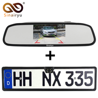 Sinairyu 2in1 Nieuwe 4 LED Nachtzicht Europese Nummerplaat Frame Camera Parkeerplaats 4.3 Inch Achteruitkijkspiegel Auto Monitor