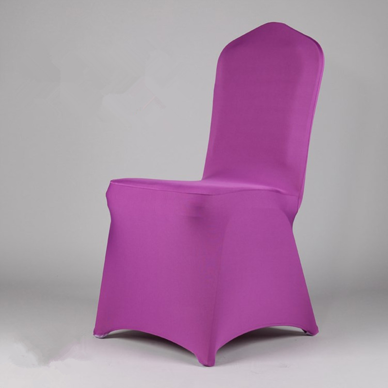 6pcs Purple Spandex Wedding Decoration Hotel Dining Fabric Sashes Restaurant Chair Coversbows China