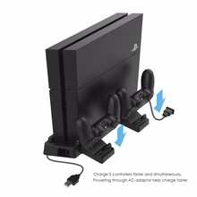 GameSir W60P430 Vertical Console Stand with Dual Controller Holder Station with Charging Function for Sony PS4 Pro, Slim