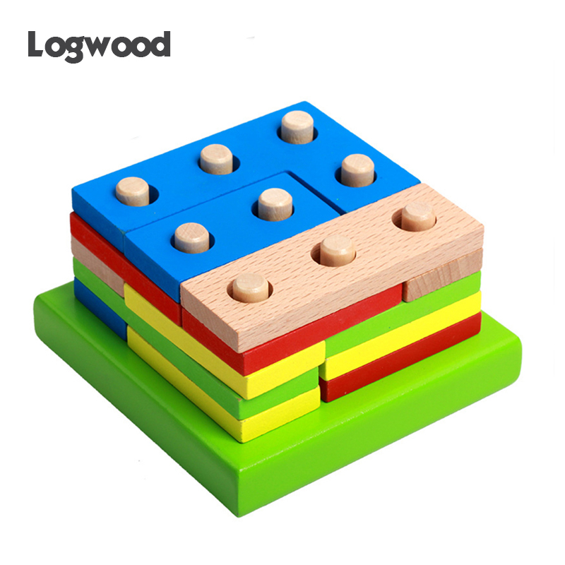 Baby Wooden Toys Montessori Education Shape Toys Geometry Intelligence Board Teaching Leaning Match Toys For Children