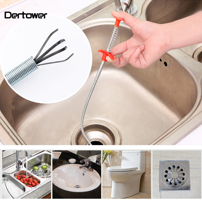 60cm Kitchen Bathroom Sink Pipe Drain Cleaner Pipeline Hair Cleaning Removal Shower Toilet Sewer Clog Long Line Plastic Hook image