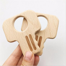 5pc Wooden Teether Key Shape Chew Toys DIY Accessories Baby Products
