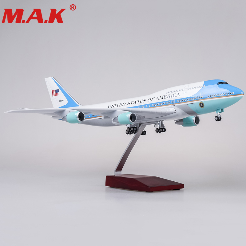 47cm airplane model toys boeing 747 air force one aircraft model with light and wheel 1/150 scale diecast plastic allory plane