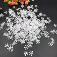 цена на 600pcs 3cm Snowflakes Artificial Snow Plastic Christmas Decoration For Home Christmas Tree Ornaments for New Year Xmas 2 Pack