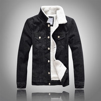 Denim Jacket Fur Collar Men Winter Black Male Bomber Jacket Fashion Men Jacket Plus Velvet Leisure