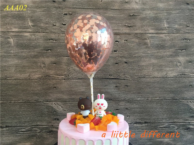1Set 5inch Party Rose Gold Confetti Balloon With Paper Straw Cake Topper For Wedding Birthday Baby Shower Decoration