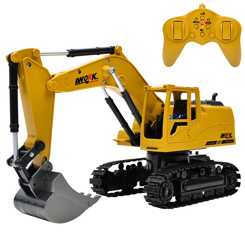 8CH Simulation Toy RC Excavator Toys With Musical And Light Children's Boys RC Truck Beach Toys RC Engineering Car Tractor
