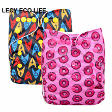 LECY ECO LIFE Washable Diapers Baby Diaper Cover Wrap Cartoon Print Baby Nappy Changing Reusable Baby Cloth Diapers wholesale