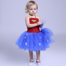Wonder Woman Cosplay Costume Cartoon Wonder woman Girls Dresses for Halloween Party Red Blue Baby Girls Tutu Dresses PT186