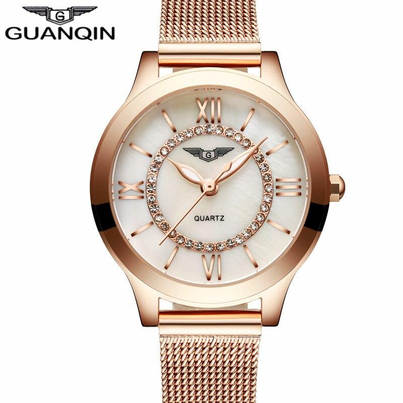 GUANQIN Ladies Watches Gold Watch Women Dress Top Brand Women's Fashion Stainless Steel Bracelet Quartz Watch Relogio Feminino dress watches women ladies gold