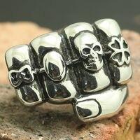 Retail 316L Stainless Steel Cool Silver Biker Skull Fist Big Ring