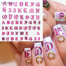 1pc Rose Gold Letter 3d Nail Art Sticker Nail Decal Black Words Character Nail Adhesive Sticker Decals Nail Decoration DIY цена в Москве и Питере