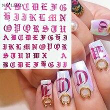 1pc Rose złota litera 3d do paznokci naklejka artystyczna naklejka do paznokci czarne słowa charakter do paznokci samoprzylepna naklejka naklejki ozdoba do paznokci DIY