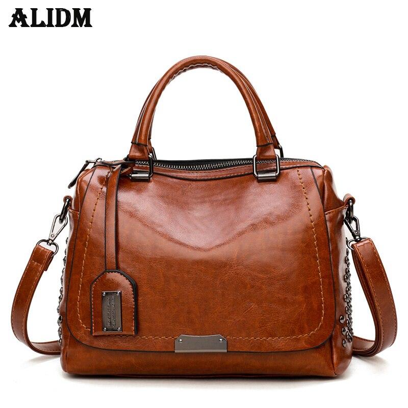 цены на Designer Brand Oil Wax Leather Women Handbags Fashion Rivet Sequined Ladies Shoulder Bags Messenger Bag Female Travel Bag в интернет-магазинах