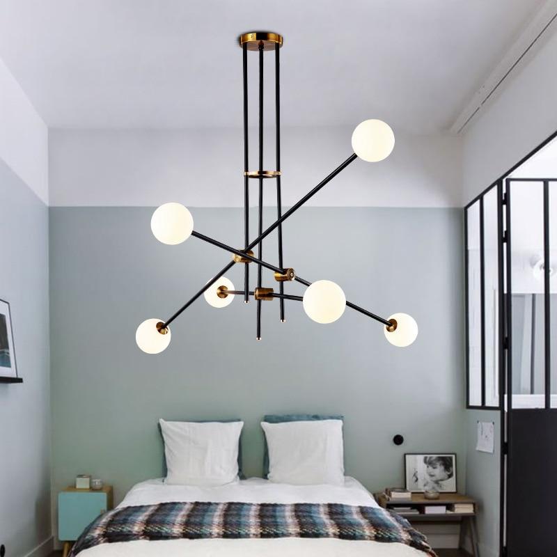 De Goedkoopste Prijs Moderne Opknoping Lamp Licht Led Eetkamer Bed Room Slaapkamer Foyer Ronde Glazen Bal Zwarte Goud Nordic Eenvoudige Moderne Hanglamp Lamp