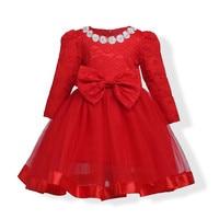 Vestito Dalla Neonata Bowknot Del Merletto Della Principessa Ragazze di Fiore Abiti Bambini Abbigliamento Primavera Autunno Manica Lunga Rosso